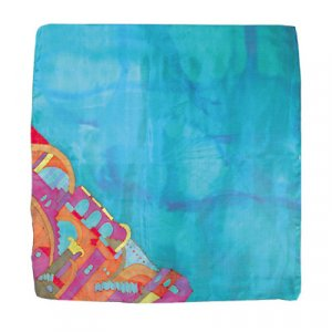 Hand Painted Silk Square Scarf, Jerusalem Turquoise - Yair Emanuel