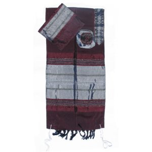 Handwoven Maroon Silk Prayer Shawl Tallit Set with Silver Stripes - Gabrieli