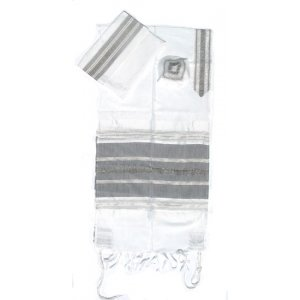 Handwoven White Silk Prayer Shawl Set with Black and Silver Stripes - Gabrieli