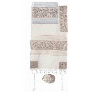 Hand Embroidered Cotton Tallit Set in Silver, Flowers and Matriarchs - Yair Emanuel