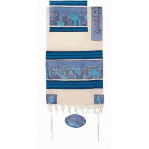 Woven Cotton and Hand Painted Silk Tallit Set, Blue Jerusalem Images - Yair Emanuel
