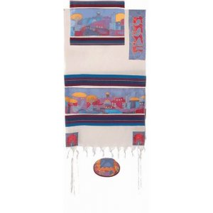 Woven Cotton and Silk Tallit Set, Colorful Jerusalem Images - Yair Emanuel