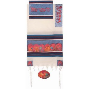Woven Cotton and Hand Painted Silk Prayer Shawl Set, Colorful 12 Tribes - Yair Emanuel