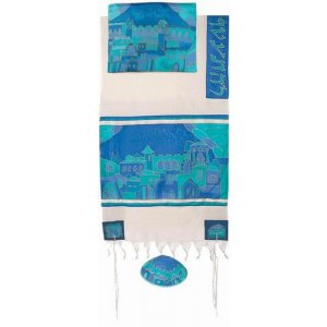 Woven Cotton and Hand Painted Silk Tallit Set, Blue Jerusalem Gates - Yair Emanuel