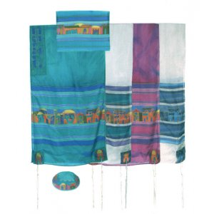 Hand Painted Silk Tallit Set, Jerusalem Images - Yair Emanuel