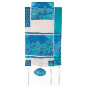 Hand Painted Silk Tallit Set, Blue Gates in Jerusalem - Yair Emanuel