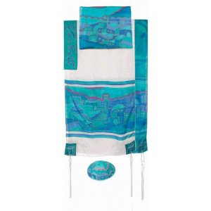 Silk Tallit Set Hand Painted with Jerusalem Views, Turquoise White - Yair Emanuel