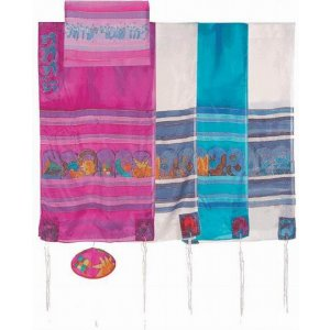Hand Painted Silk Tallit Set with Symbols of Twelve Tribes - Yair Emanuel
