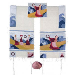 Embroidered Raw Silk Tallit Set, Miriam with Tambourines at Red Sea - Yair Emanuel