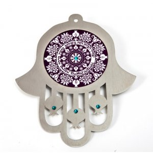 Purple Stainless Steel Wall Hamsa Home Blessing - Hebrew by Dorit Judaica