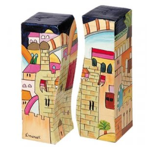 Hand-Painted Wood Fitted Salt & Pepper Shaker, Jerusalem - Yair Emanuel
