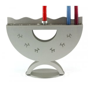 Aluminum Curved Hanukkah Menorah with Ibex Design, Gray - Shraga Landesman
