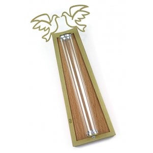 Peace Doves Mezuzah Case Gold and Shaded - Aluminum Lucite by Shraga Landesman