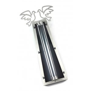 Peace Doves Mezuzah Case Silver and Black - Aluminum Lucite by Shraga Landesman