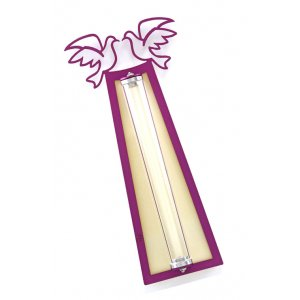 Peace Doves Mezuzah Case Purple and Shaded - Aluminum, Lucite by Shraga Landesman