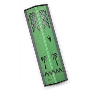 Angular Shiny Green Aluminum Mezuzah Case - Palm Tree Motif by Shraga Landesman