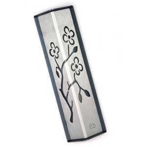 Angular Shiny Silver Aluminum Mezuzah Case - Almond Tree by Shraga Landesman