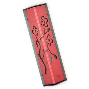 Angular Shiny Pink Aluminum Mezuzah Case - Almond Tree by Shraga Landesman