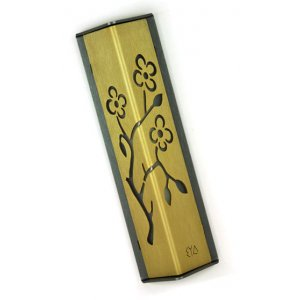 Angular Shiny Gold Aluminum Mezuzah Case - Almond Tree by Shraga Landesman