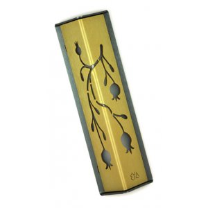 Angular Shiny Gold Aluminum Mezuzah Case - Palm Tree Motif by Shraga Landesman