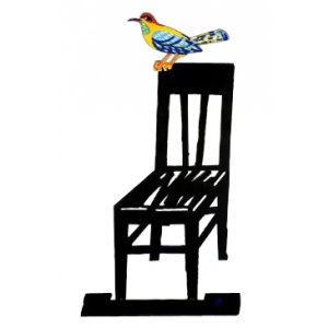 Free Standing Double Sided Sculpture - Bird Perched on Chair by David Gerstein