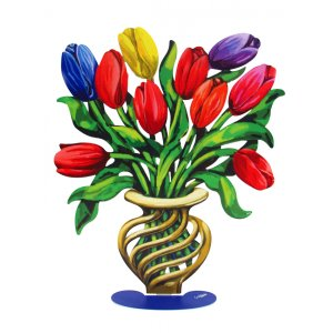 Free Standing Double Sided Flower Vase Sculpture - Tulips Large by David Gerstein