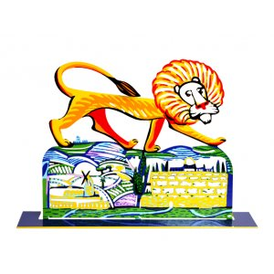 Free Standing Double Sided Sculpture - Ariel Lion protects Jerusalem by David Gerstein