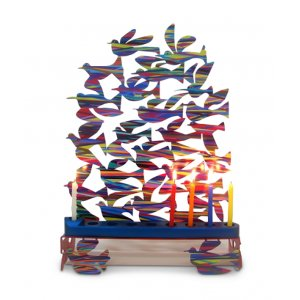 Laser Cut Metal Colorful Hanukkah Menorah, Birds in Flight - David Gerstein