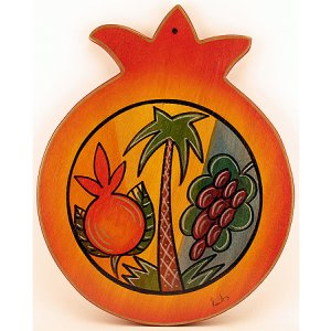 Hand Painted Pomegranate Wood Cutting Board, Seven Species - Kakadu