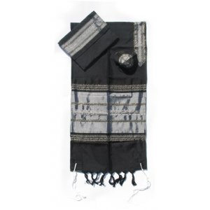 Black Handwoven Silk Prayer Shawl Set with Silver Stripes - Gabrieli