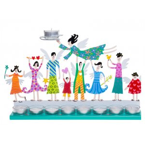 Turquoise Hand Painted Hanukkah Menorah with Joyful Family - Tzuki Art
