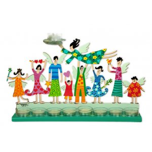 Hand Painted Hanukkah Menorah with Joyful Family, Green - Tzuki Art