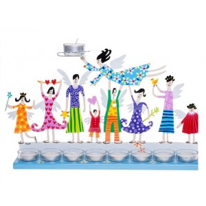 Hand Painted Hanukkah Menorah with Joyful Family, Light Blue - Tzuki Art