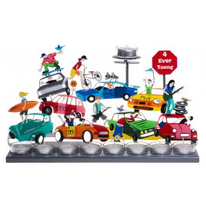 Hand Painted Hanukkah Menorah, Youth Enjoying Traffic Jam - Tzuki Art