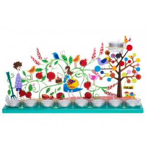 Hand Painted Hanukkah Menorah Youngsters in Pomegranate Garden, Green - Tzuki Art