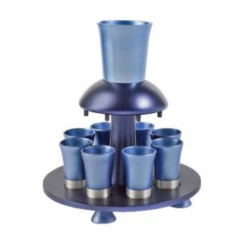 Aluminum Kiddush Fountain with Goblet, 8 Cups & Tray, Blue - Yair Emanuel