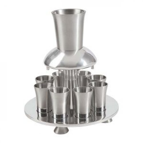 Aluminum Kiddush Fountain with Goblet, 8 Cups & Tray, Silver - Yair Emanuel
