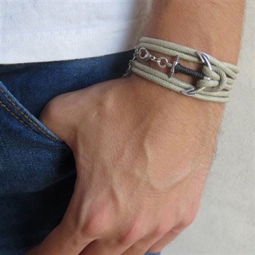 Beige Rope Triple-Wrap Men's Bracelet with Oxidized Silver-Plated Anchor Element and Black Thread by Gal Cohen