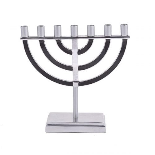Black Seven Branch Menorah with Classic Design - Yair Emanuel