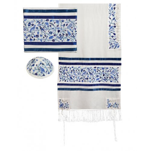 Blue Cotton & Silk Prayer Shawl Set Embroidered Birds and Flowers - Yair Emanuel