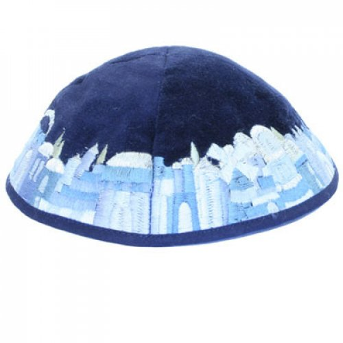 Blue Velvet Kippah with Embroidered Jerusalem Images by Yair Emanuel