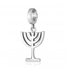 Bracelet Charm, 7-Branch Temple Menorah - Sterling Silver