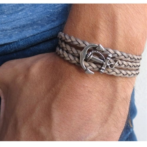 Braided Grey Leather Triple-Wrap Men's Bracelet with Oxidized Silver-Plated Anchor Element by Gal Cohen