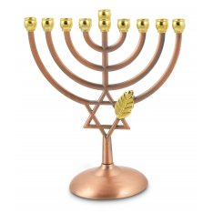 Bronze Color Hanukkah Menorah with Leaf and Star of David - 7 Inches