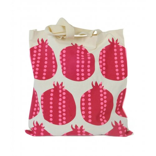 Canvas Tote Bag with Red Pomegranate Design - Barbara Shaw