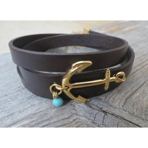 Chocolate Leather Triple Wrap Men's Bracelet with 24k Gold-Plated Anchor, Whale's Tail and Turquoise Bead