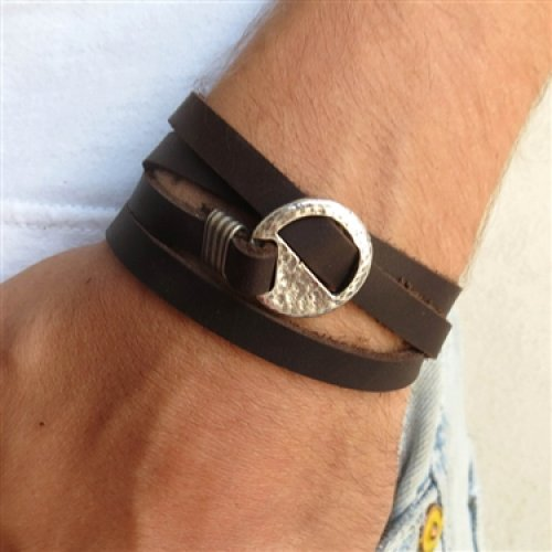 Chocolate Leather Triple Wrap Men's Bracelet with Oxidized Silver-Plated Circle by Gal Cohen