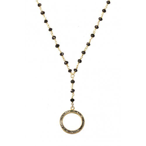 Circle Pendant by Chaya Elfassi on beaded chain