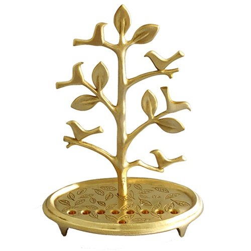 Circular Base Hanukkah Menorah, Tree with Birds, Brass - Shraga Landesman