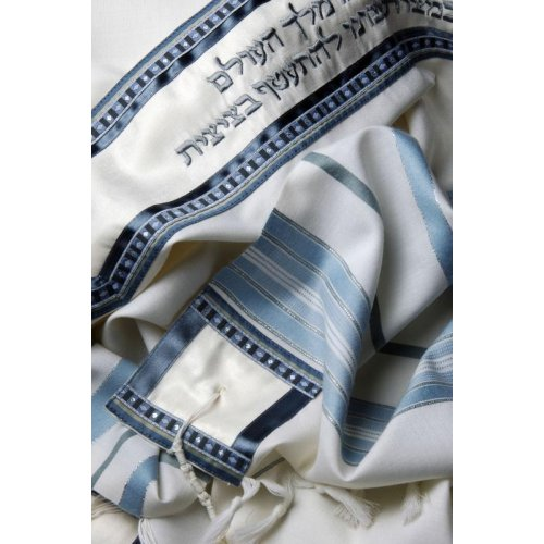 Classic Silver and Light Blue Stripe Wool Tallit Set